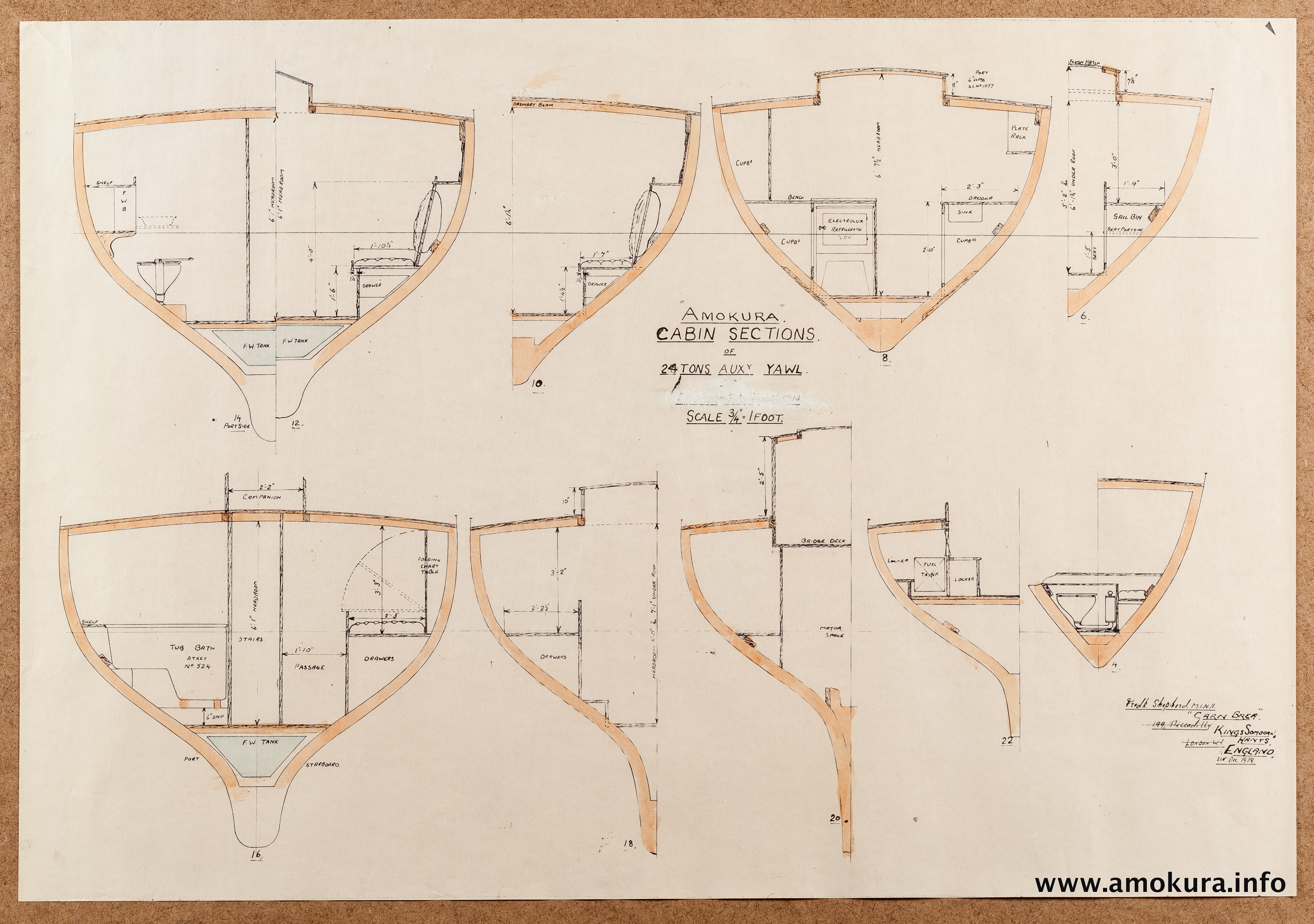 Cabin sections - hand coloured (1939)