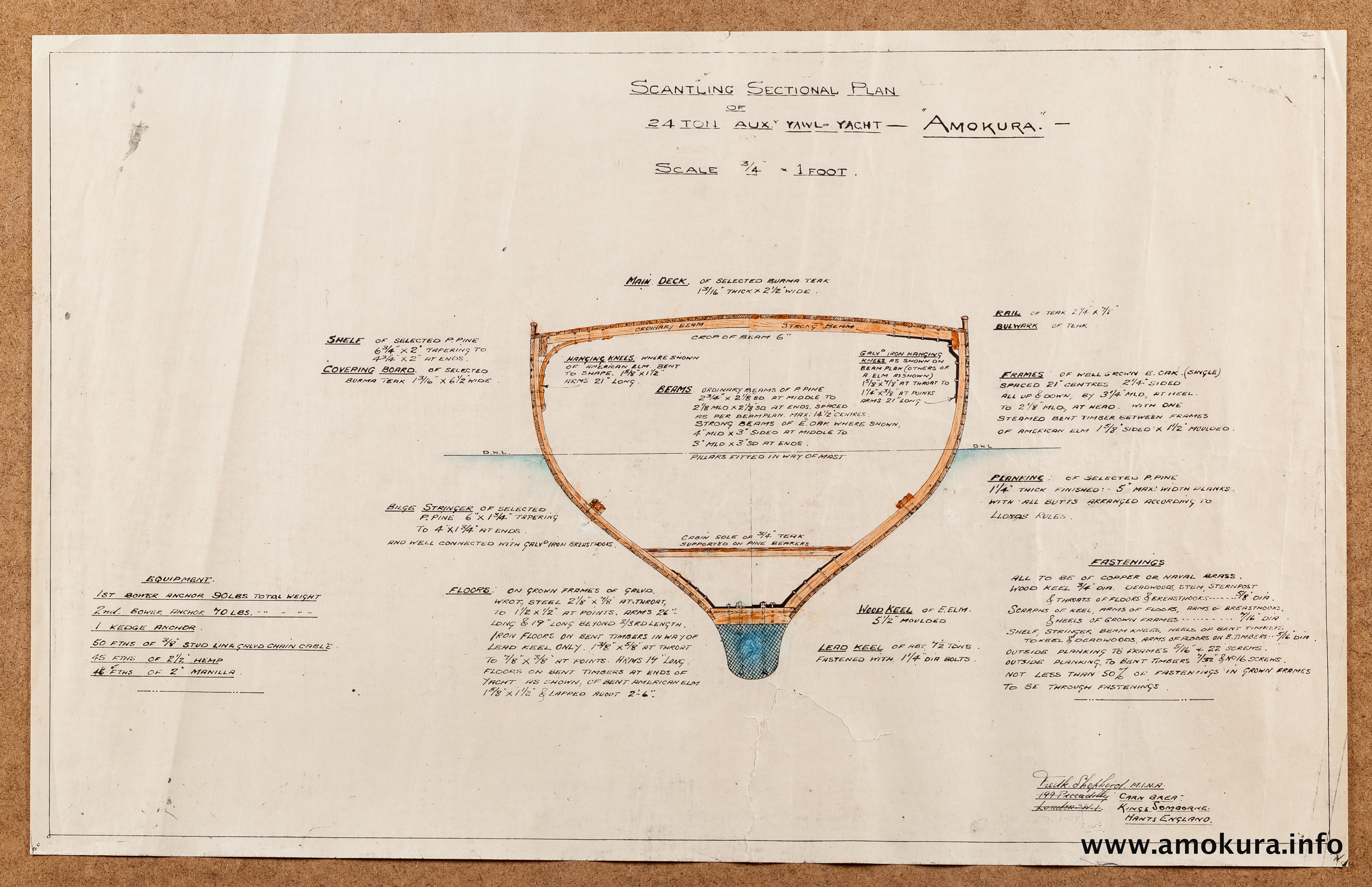 Scantling sectional plans - hand coloured with manuscript notes (1939)