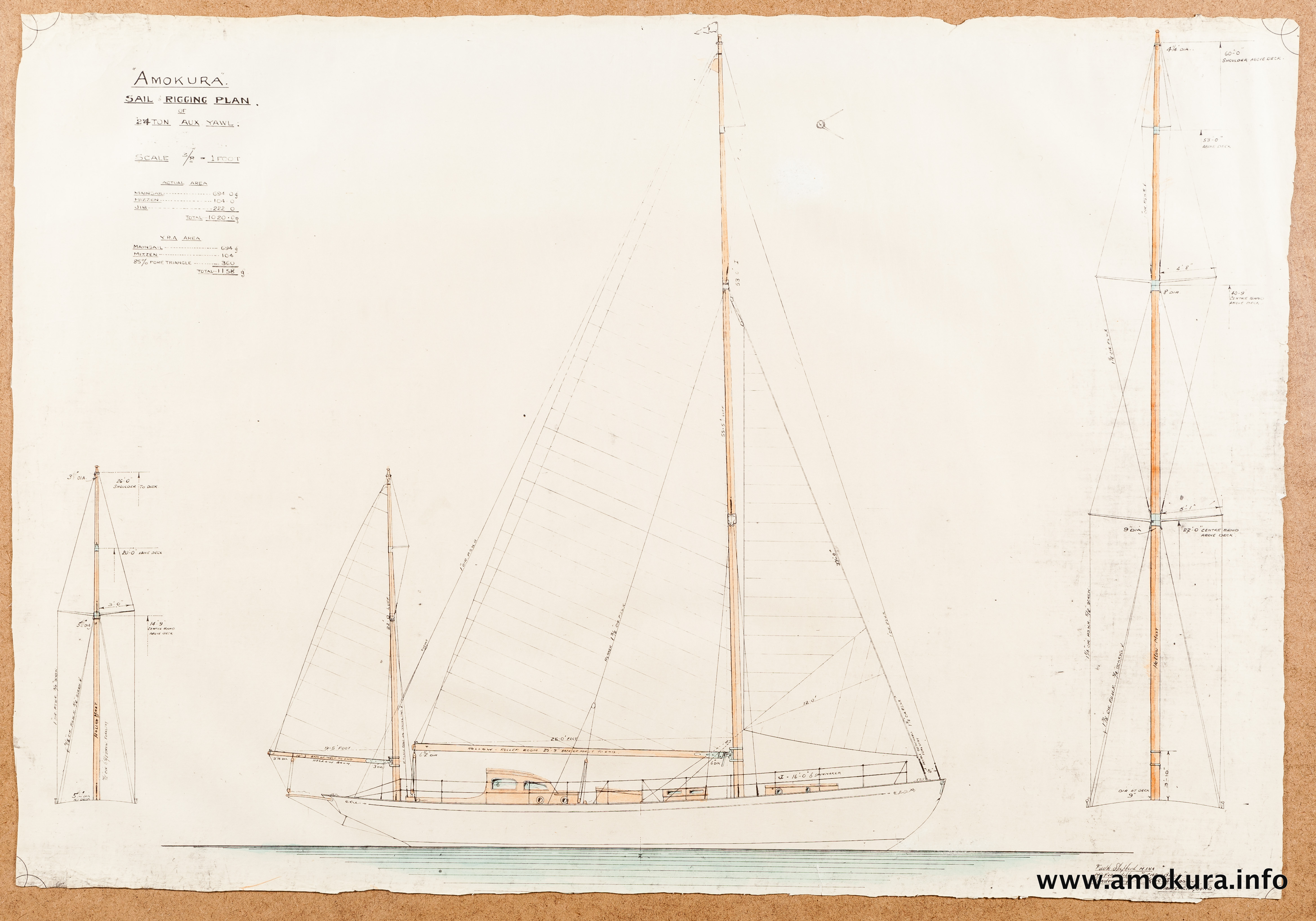 Sail and rigging plan - hand coloured (1939)