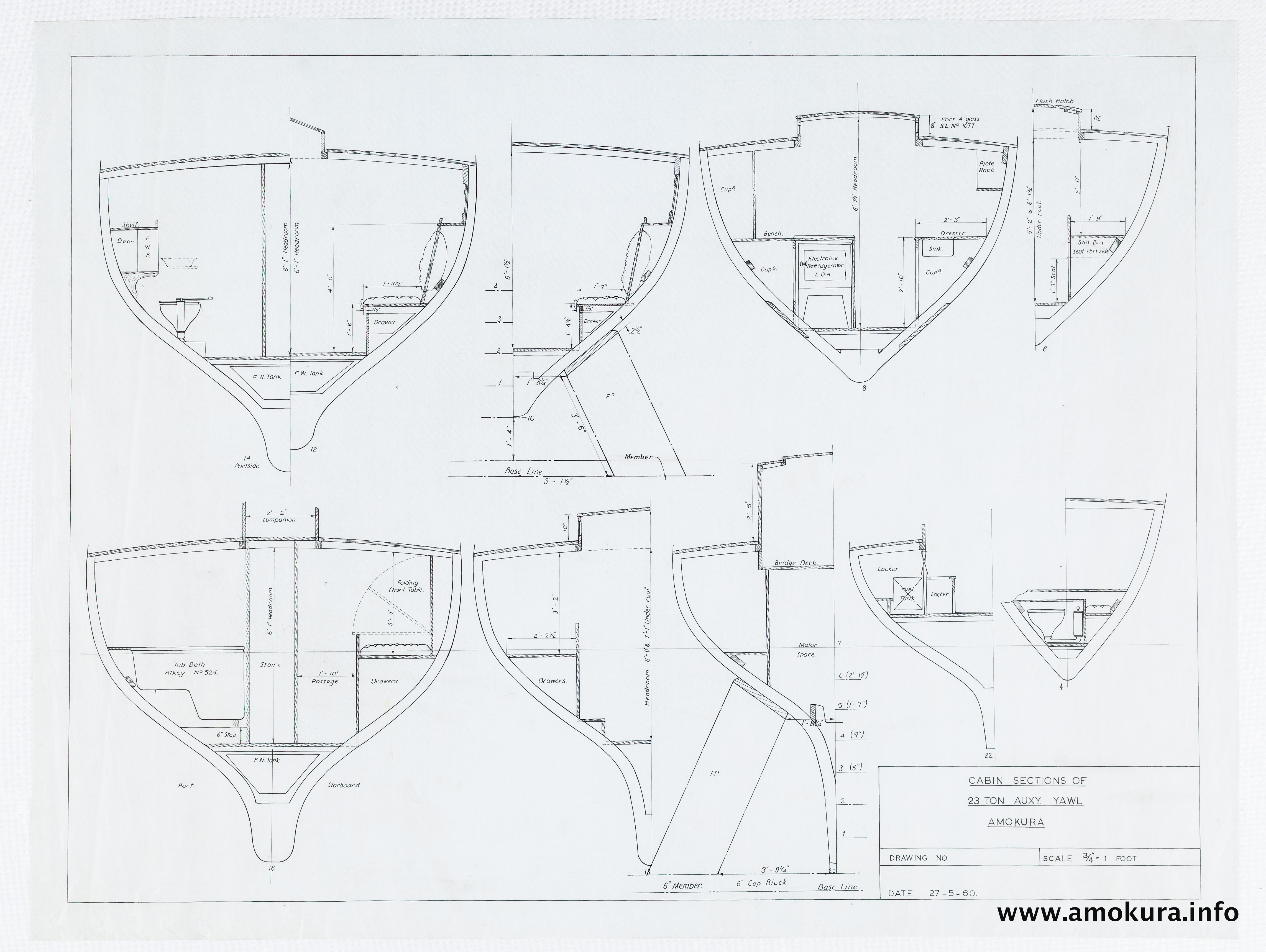 Cabin sections drawing (1960)