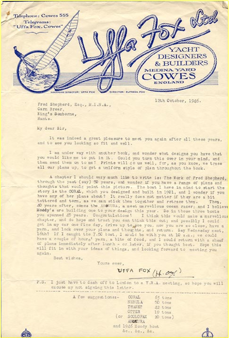 Uffa Fox letter (1946)