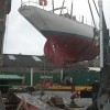 2012-13 Cockwells refit: lifting Amokura off her keel